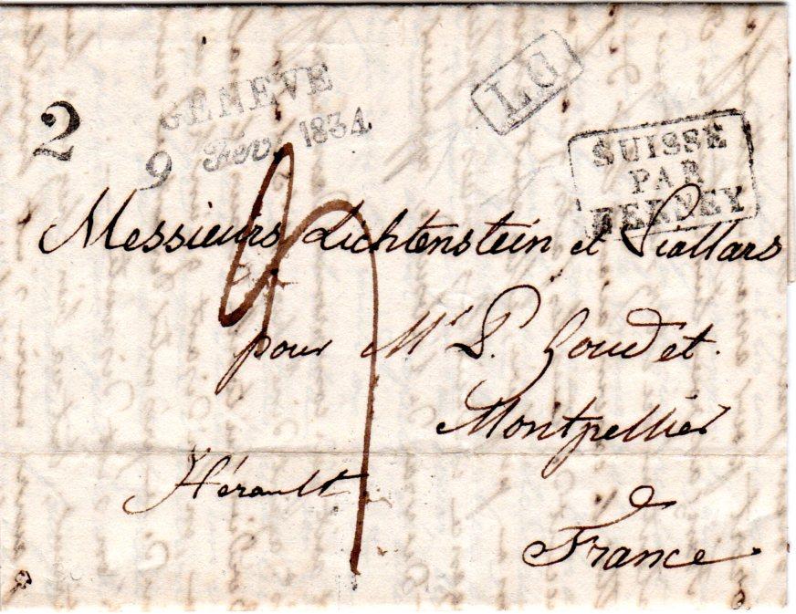 Schweiz 1834 Geneve U Lg Auf Porto Brief Suisse Par Fernay N