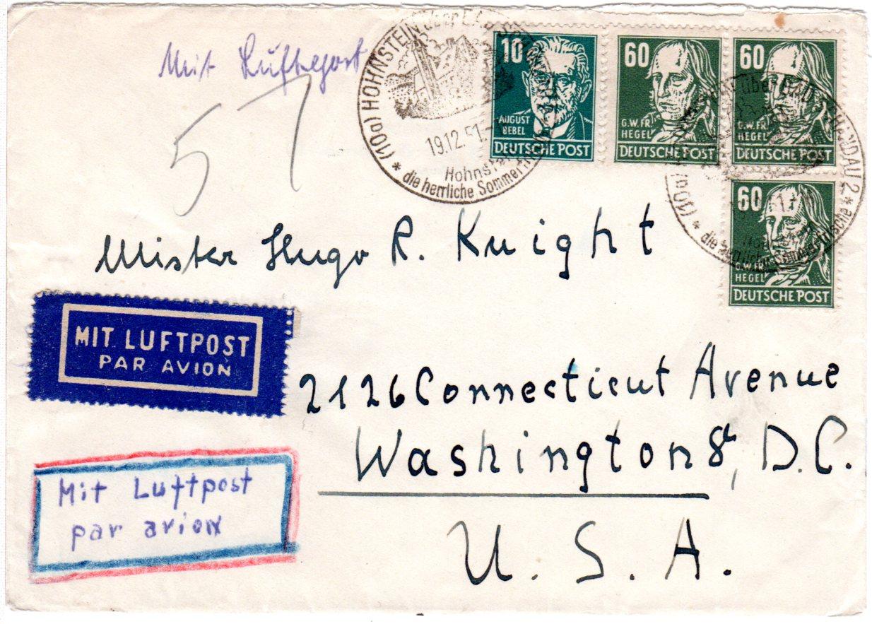 Ddr 1951 3x6010 Pf Auf Luftpost Brief V Hohenstein N Usa