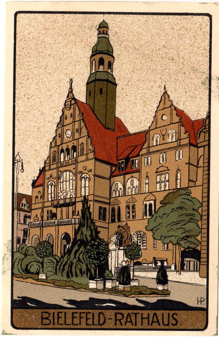 Künstler Bielefeld bielefeld rathaus ungebr steindruck künstler farb ak heiner zinoni