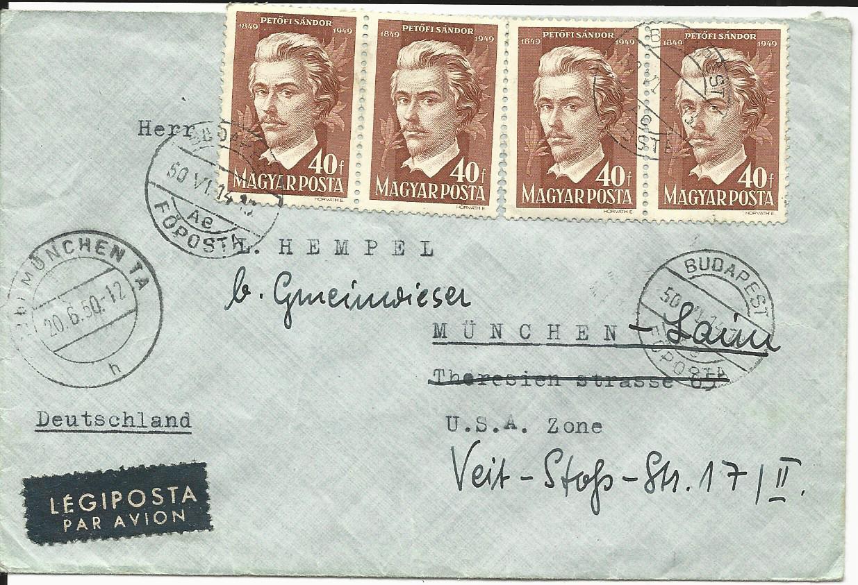 Ungarn Mef 4x40 F Petöfi Sandor Auf Luftpost Brief V Budapest N