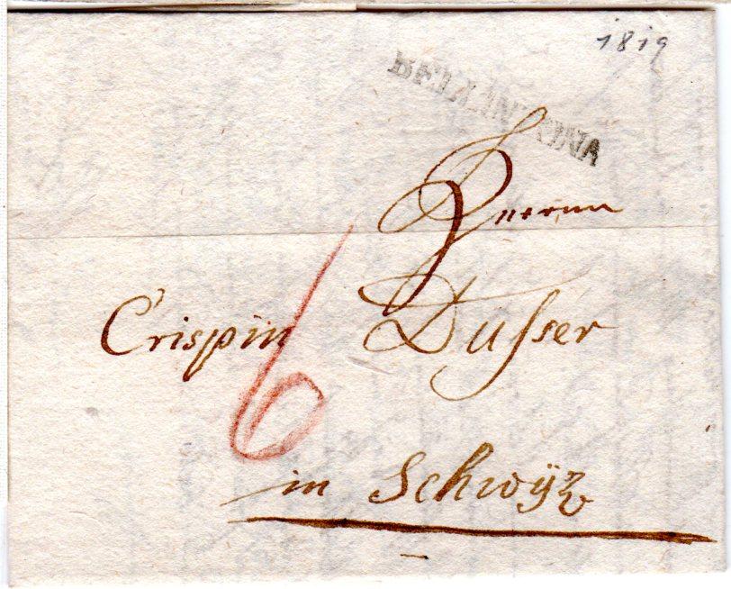 Schweiz 1819 L1 Bellinzona Auf Porto Brief N Schwytz Heiner Zinoni