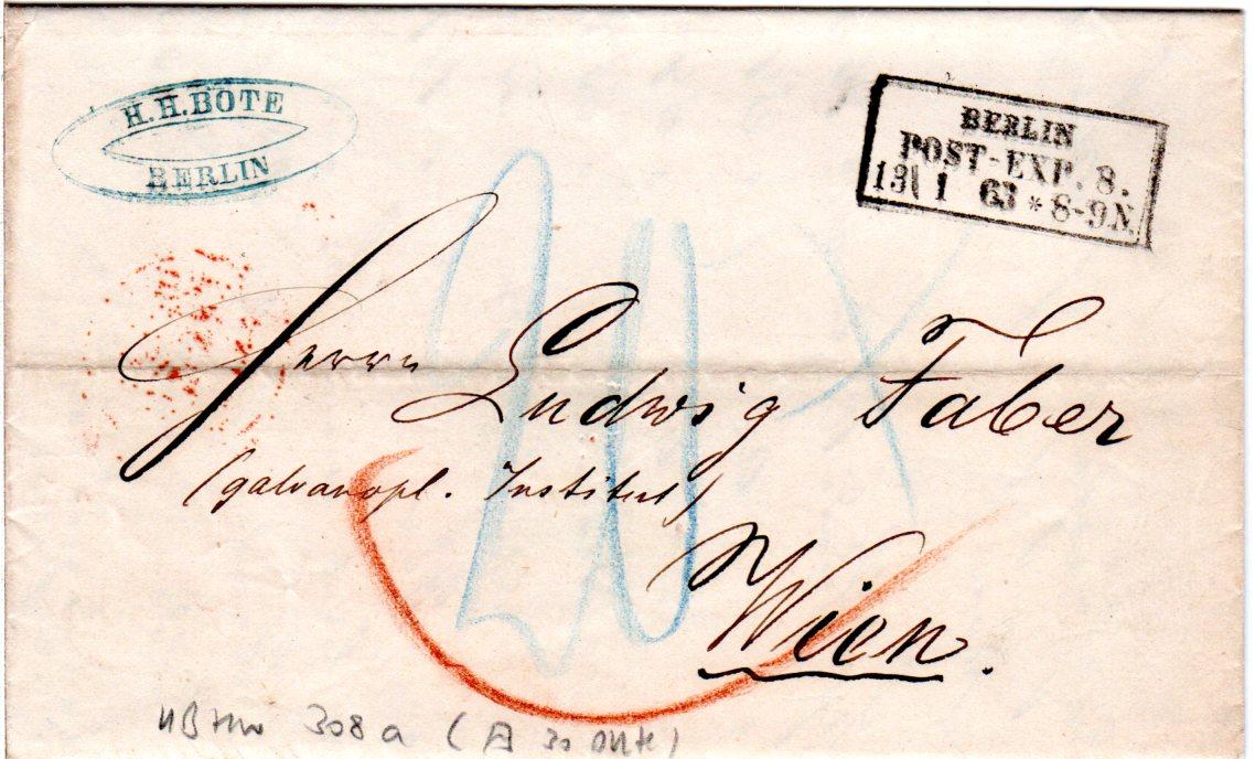 Preussen 1863 R3 Berlin Pe8 Auf Porto Brief N österreich