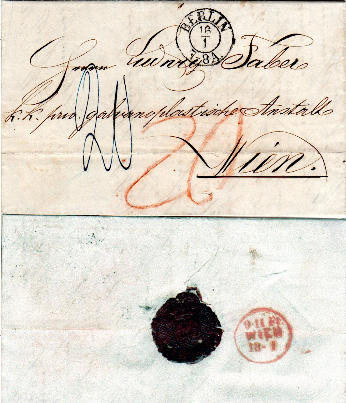 Preussen 1860 K2 Berlin Auf Porto Brief 20 Kreuzer N