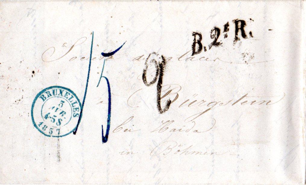 Belgien 1857 B2er Auf Porto Brief V Bruxelles N Haida Böhmen