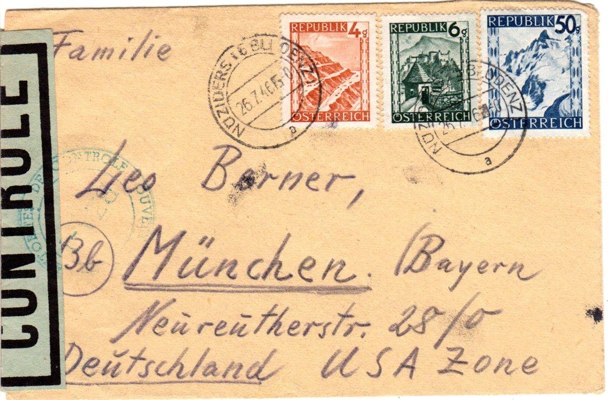 österreich 1946 3 Marken Auf Brief V Nüziders B Bludenz M Franz