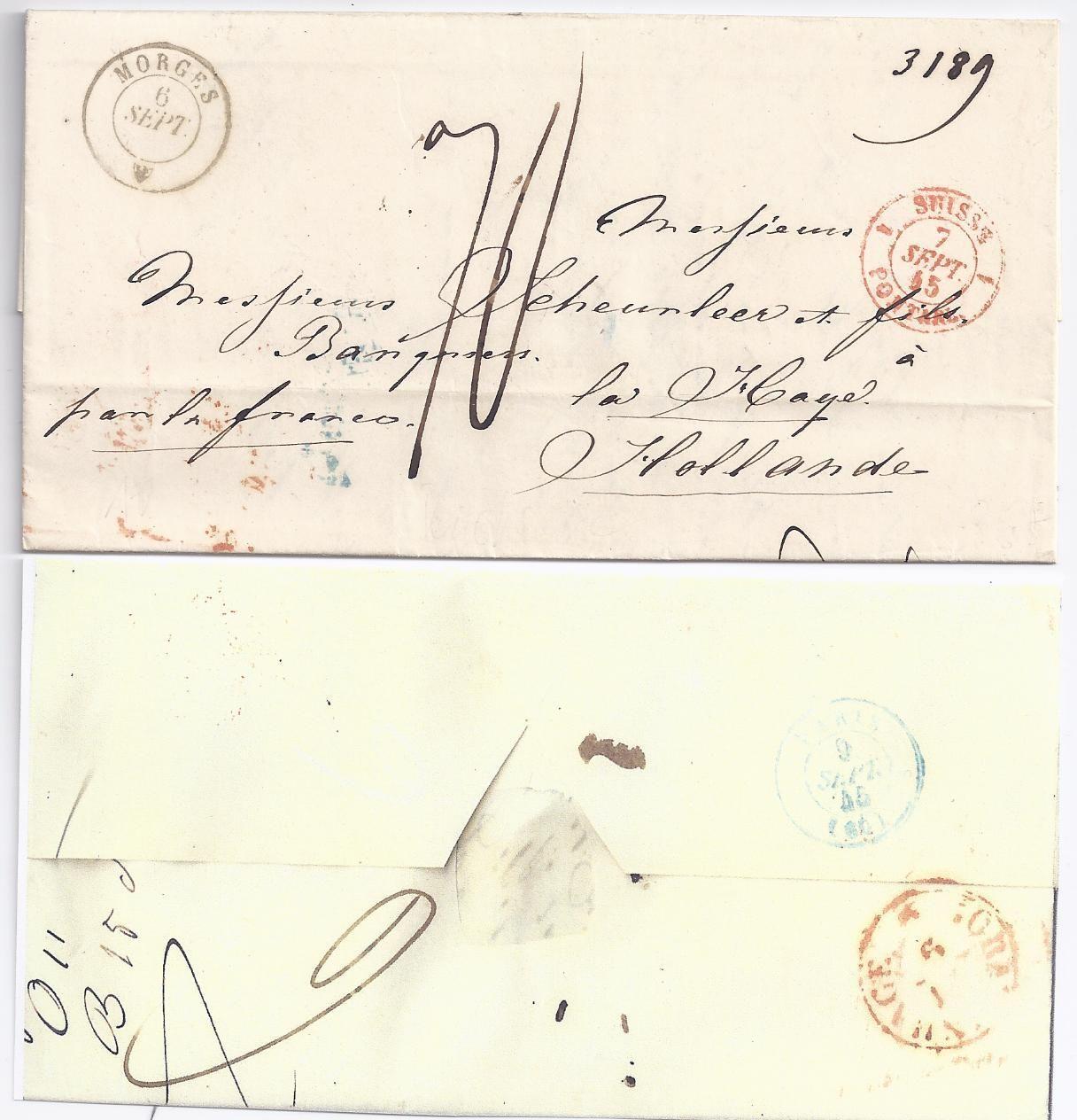 Schweiz Frankreich Nl 1845 Porto Brief V Morges Via Paris N S