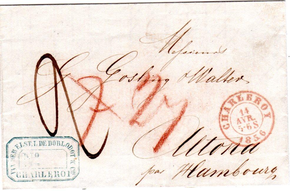 Belgien 1856 Roter K2 Charleroy Auf Porto Brief N Dänemark