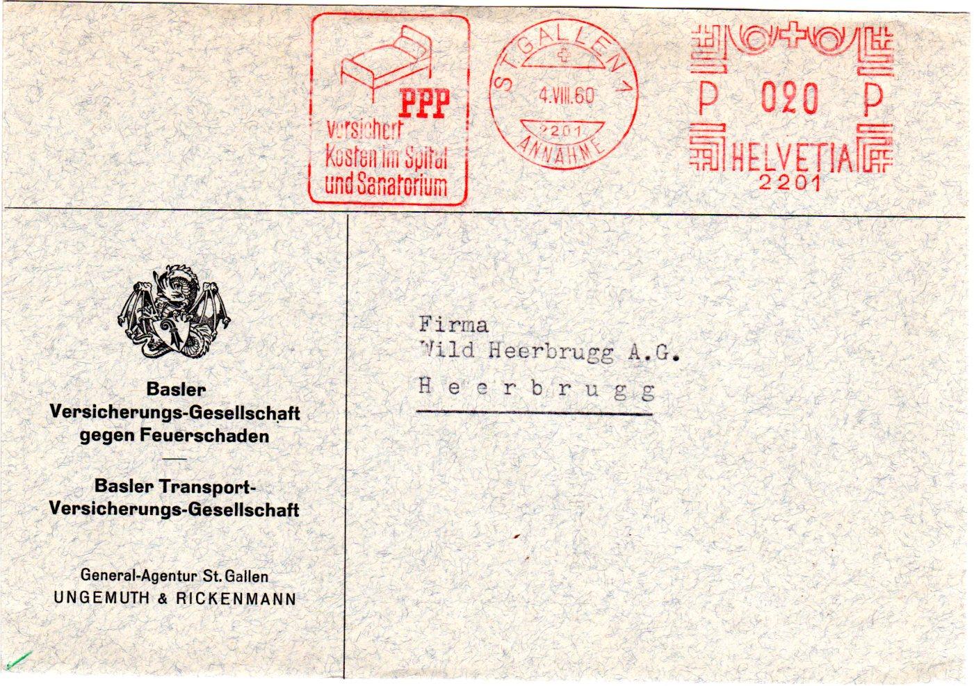 Schweiz 1960 Brief M St Gallen Maschinen Freistempel M Abbildung