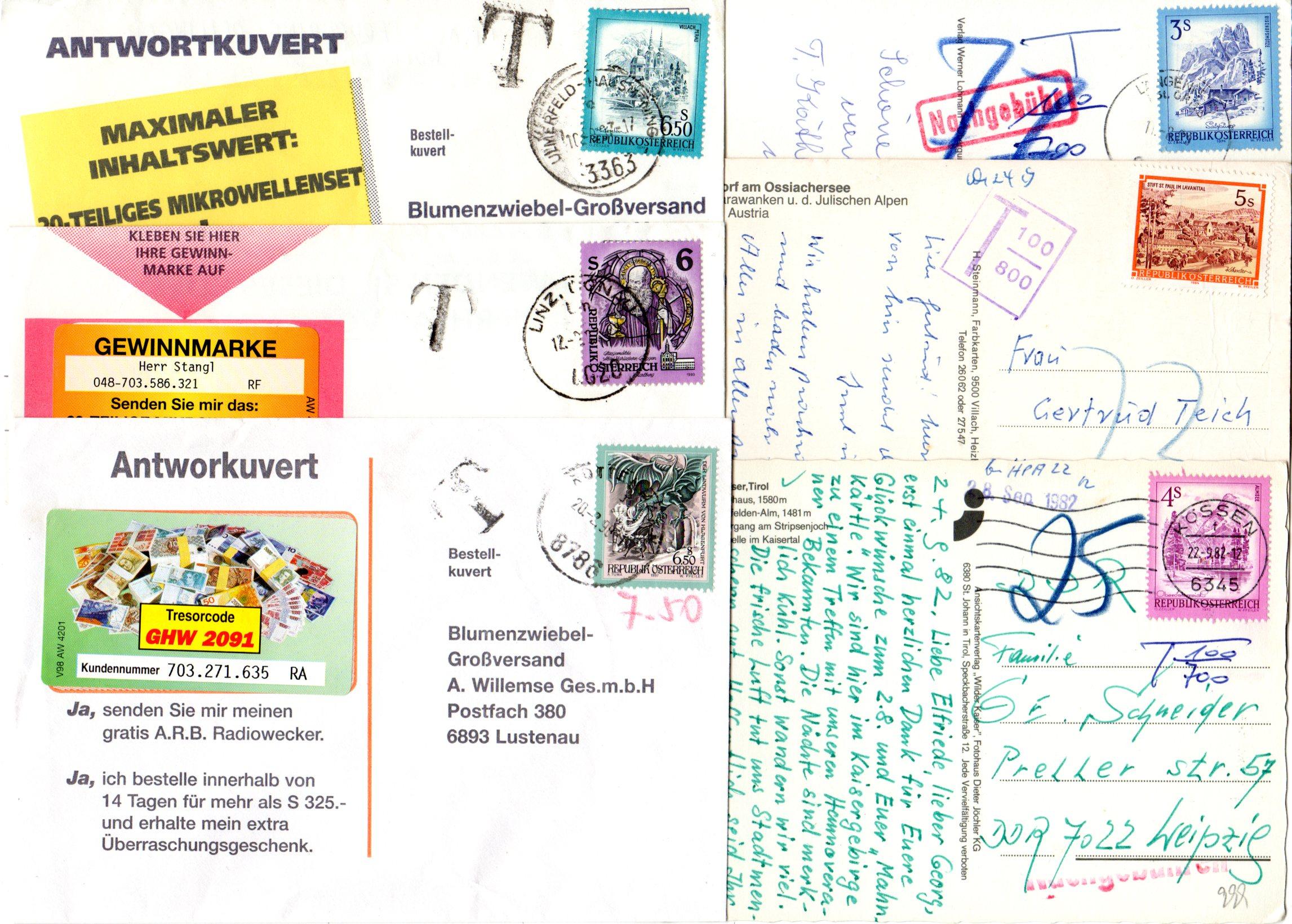 österreich 6 Briefe U Karten M Porto U Nachgebühr Stempeln