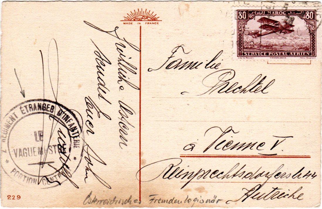 Marokko 1928 80 C Auf Karte Eines österreich Fremden Legionärs N