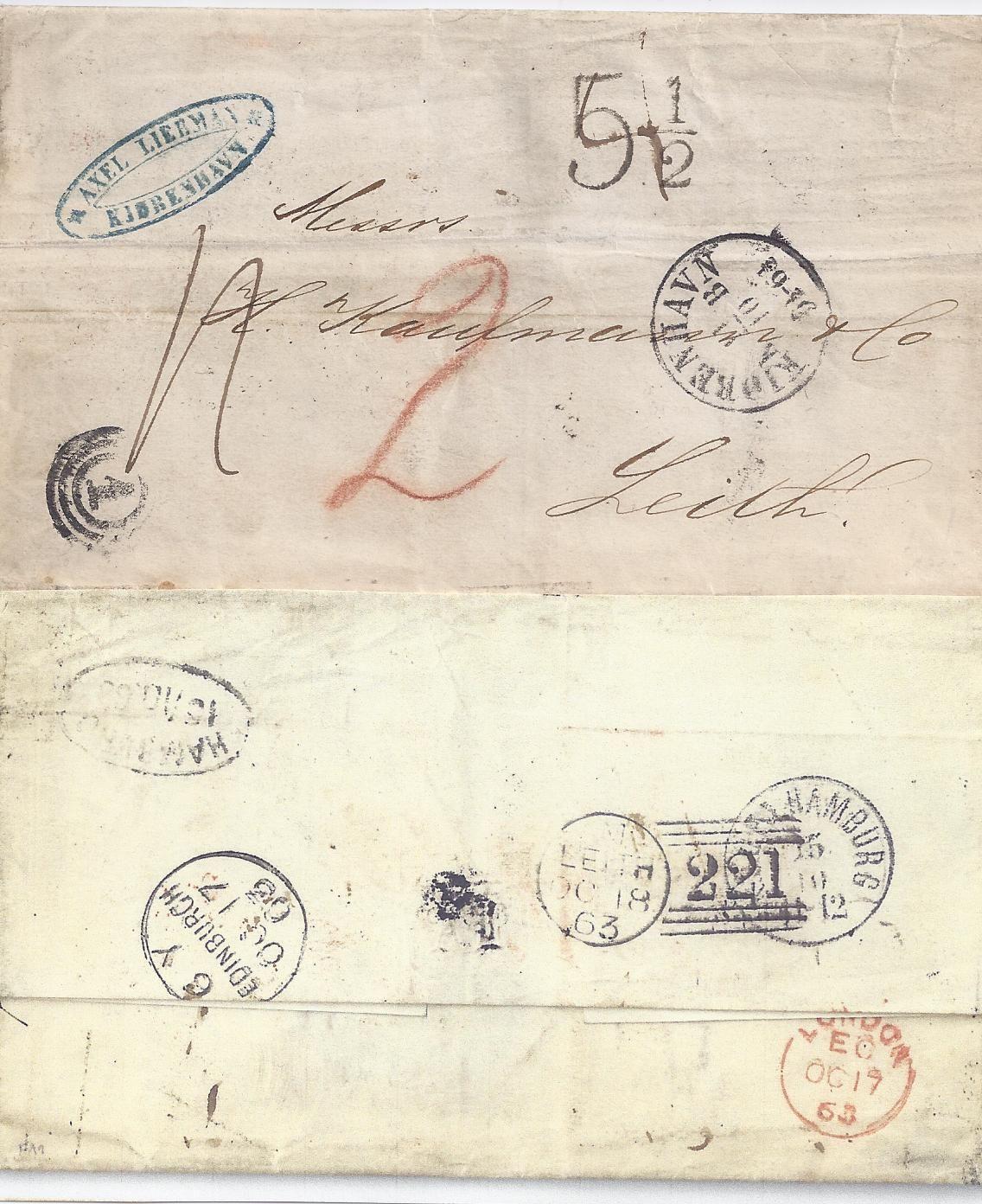 Dänemark Gb 1863 Porto Brief V 1 Kopenhagen M Vielen Stempeln