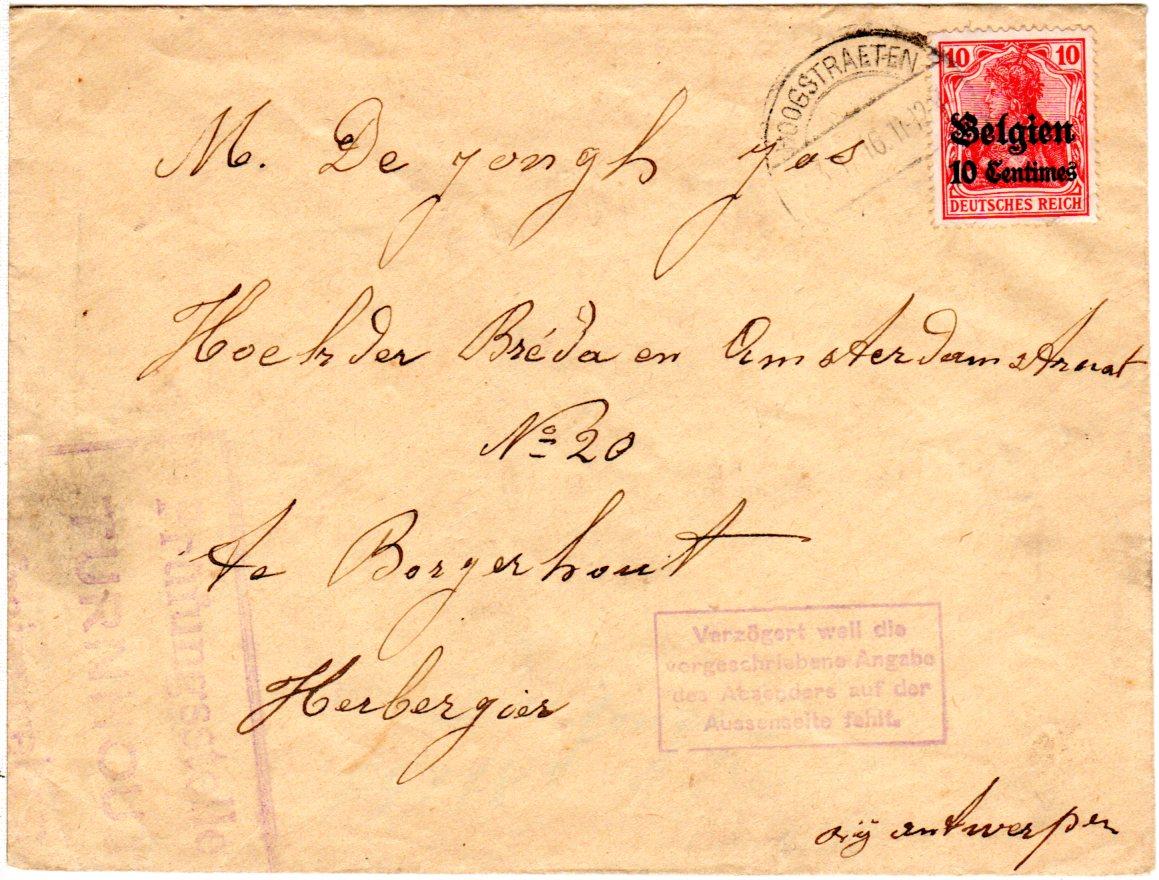 Belgien 1916 10 C10 Pf Auf Zensur Brief M Verzögert Stpl V