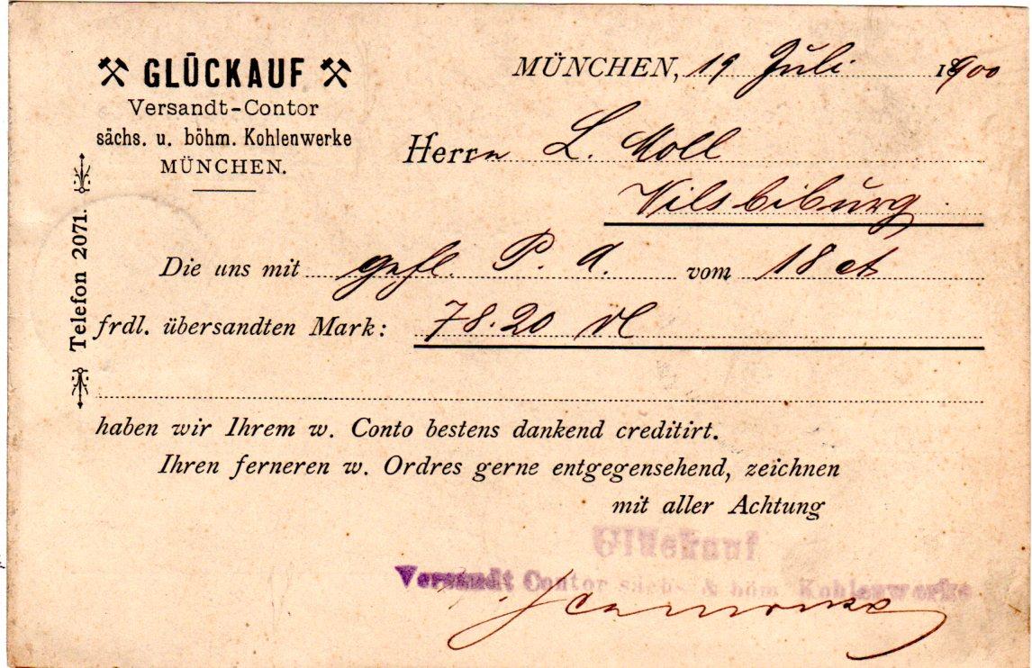 München Karte Bayern.Bayern 1900 5 Pf Auf Kohlen Werke Glückauf Karte V München 8