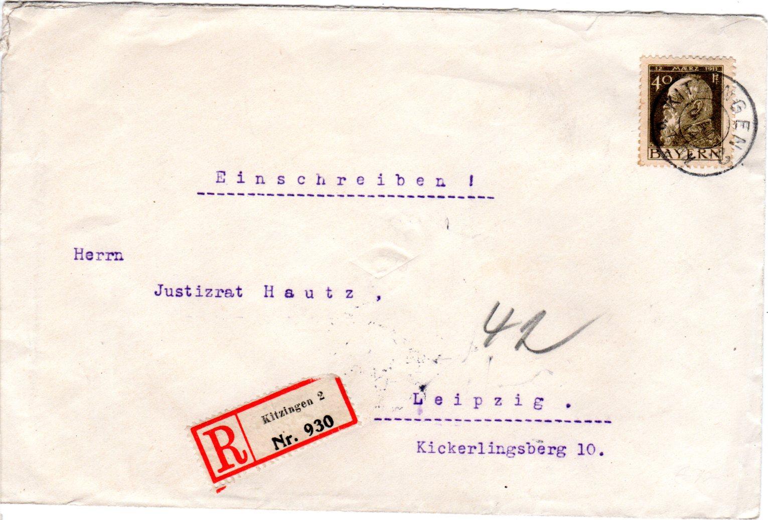 Bayern 1914 40 Pf Auf Einschreiben Brief V Kitzingen 2 Heiner
