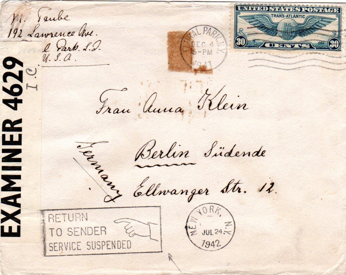 Usa 1941 30 C Auf Zensur Brief V Ny N Deutschland M Return To