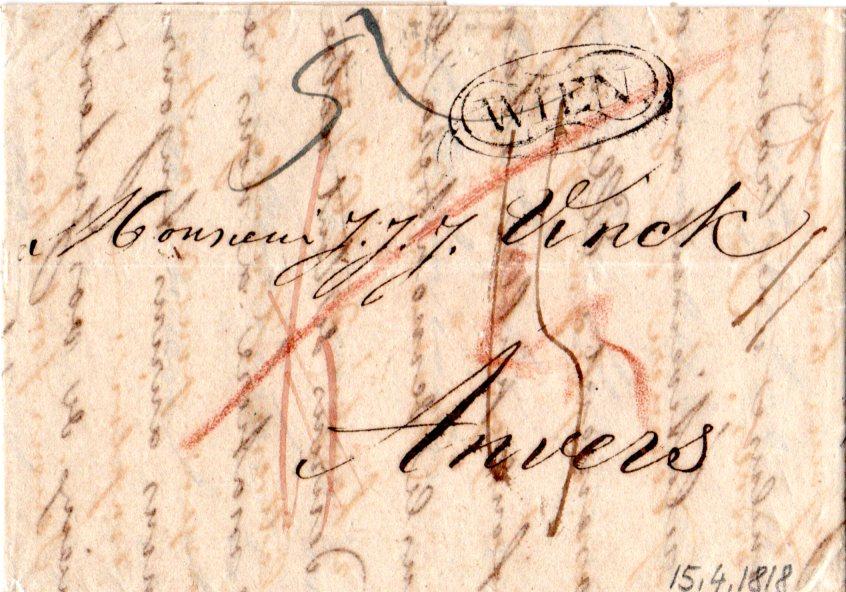 österreich 1818 Zier Oval Stpl Wien Auf Porto Brief N Anvers