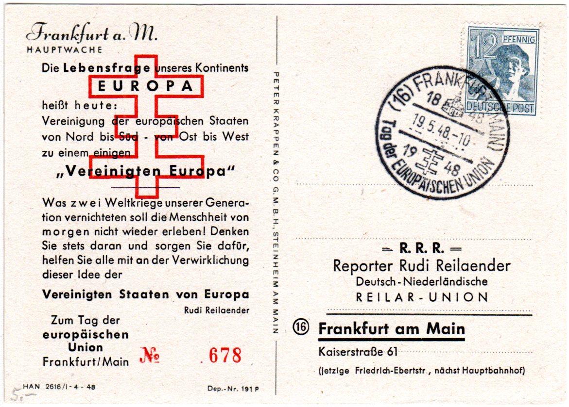Frankfurt Karte Europa.Details Zu 1948 Sonderstempel Tag D Europäischen Union Auf Limitierter Karte V Frankfurt