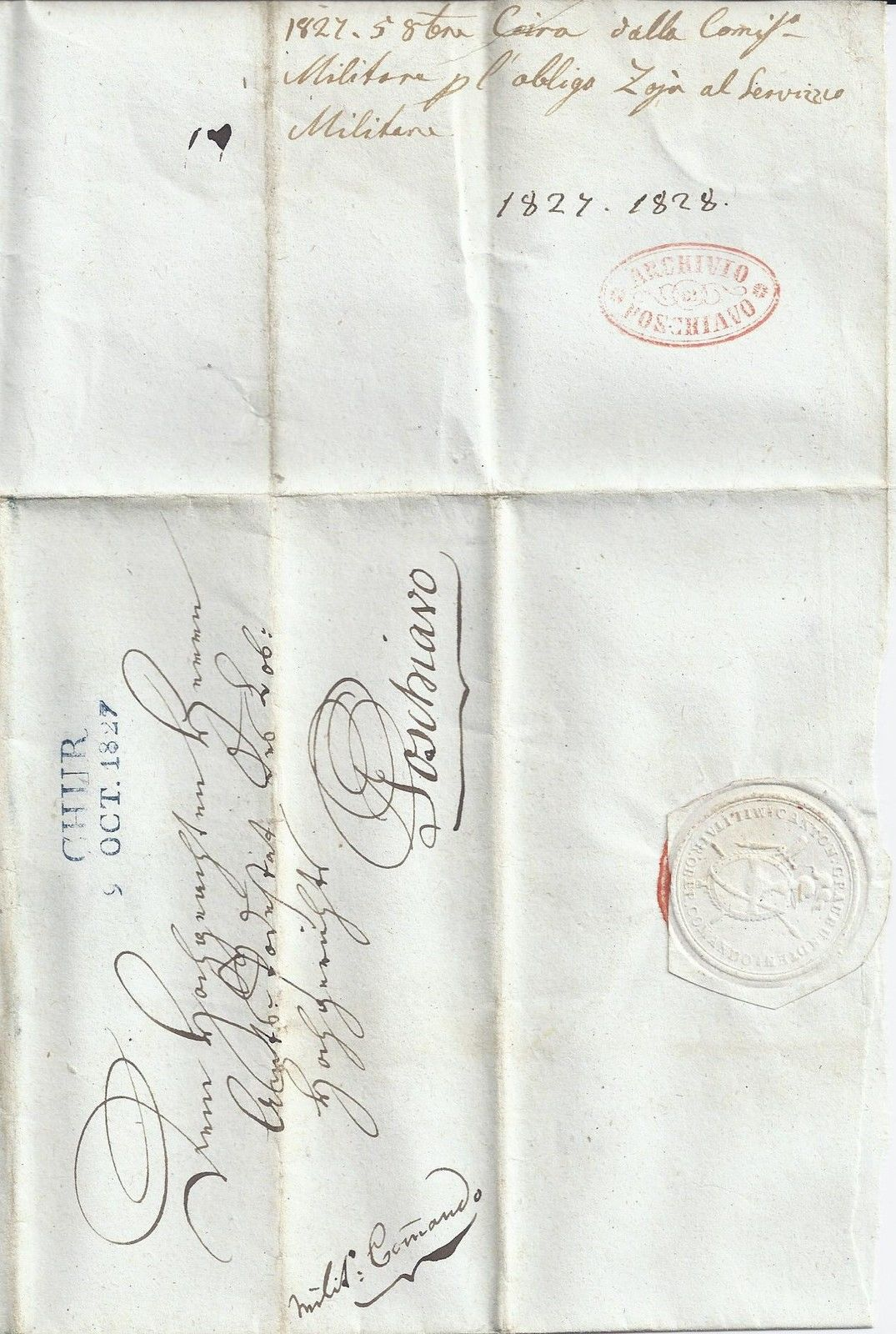 Schweiz 1827 Blau L2 Chur Auf Brief Mit Militär Absender U Siegel