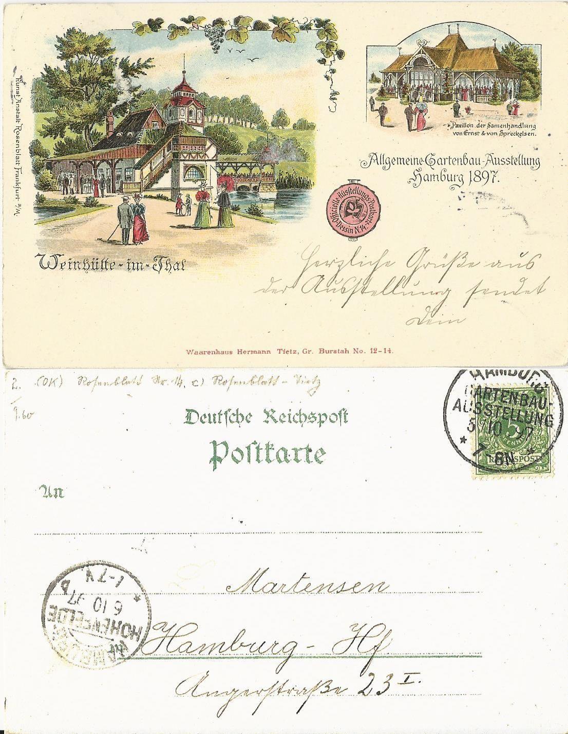 Dr 1897 hamburg gartenbau ausstellung sonderstempel auf for Gartenbau hamburg