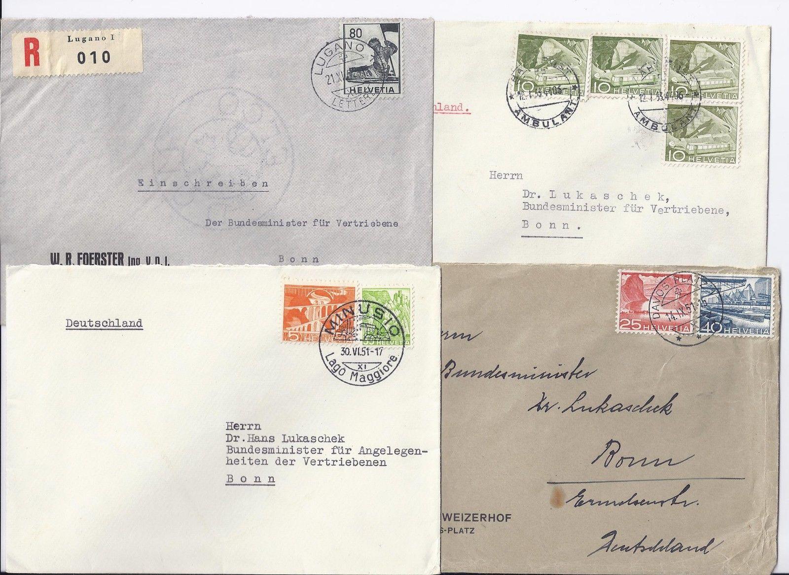 Schweiz 195153 4 Brief An Brd Minister F Vertriebene Dr