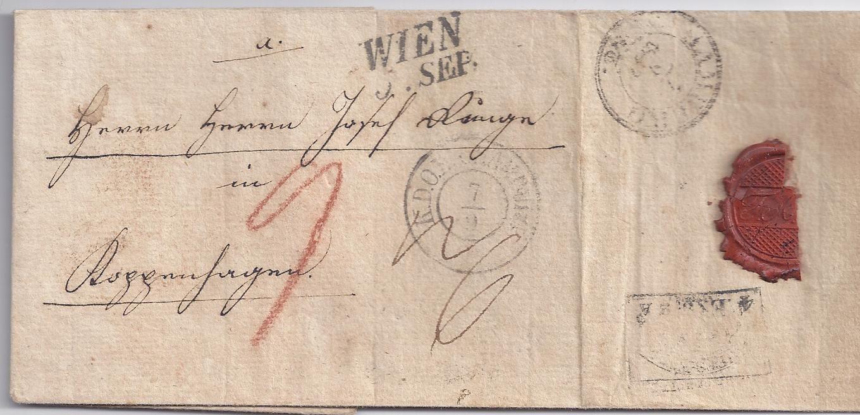 österreich Hamburg Dänemark 1842 Teil Porto Brief V Wien N