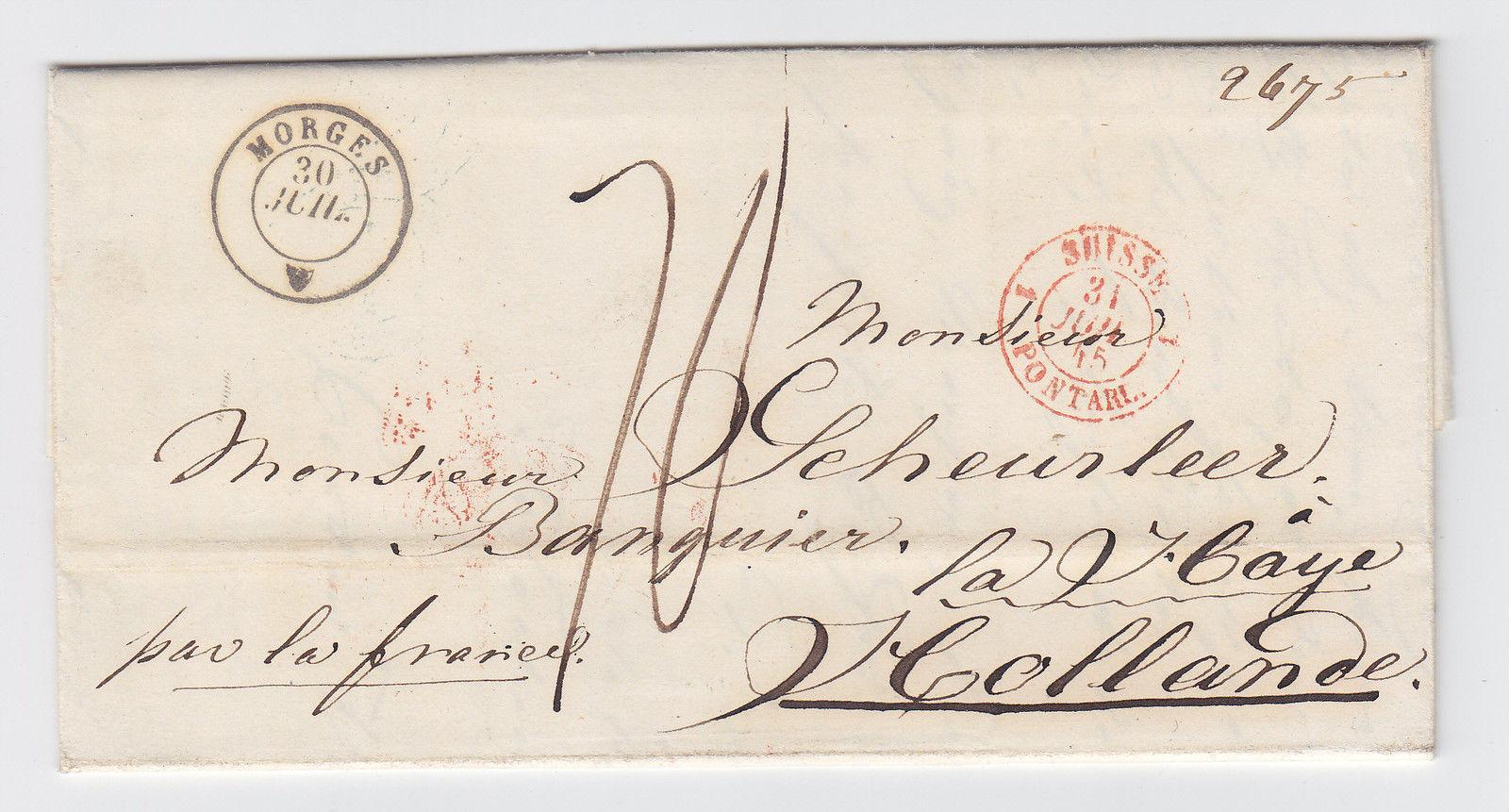Schweiz Nl 1845 K2 Morges Auf Porto Brief Nach Holland Par La