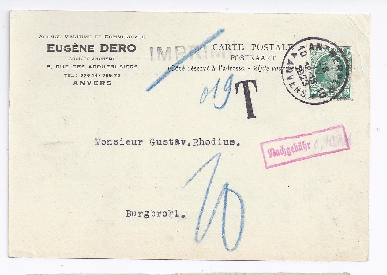 Briefe Nach Belgien Porto : Belgien dr c auf nicht anerkannter drucksache m
