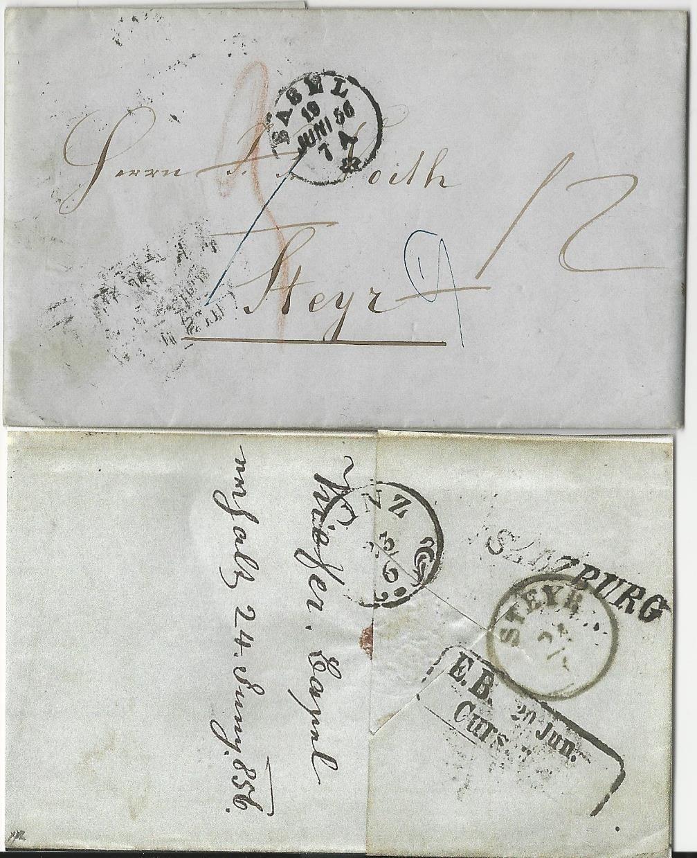 Linz Basel: Schweiz 1852/64, 3 Porto Brief V Basel N. Steyr Österreich