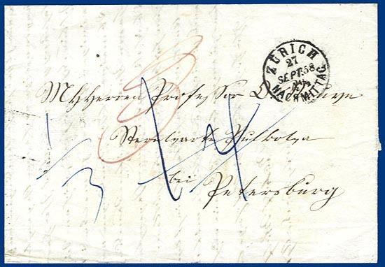 Schweiz Russland 1858 Porto Brief V Zürich S310 Heiner Zinoni