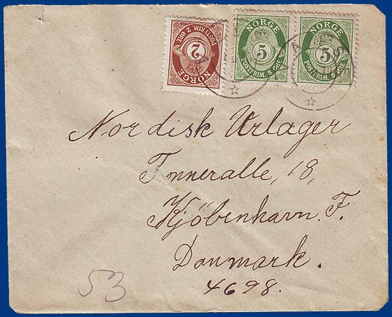 Brief Nach Luxemburg Porto : Norwegen öre porto brief v vanse nach dänemark