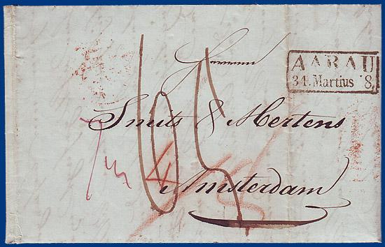 Brief Nach Irland Porto : Schweiz porto brief von aarau nach amsterdam nl m