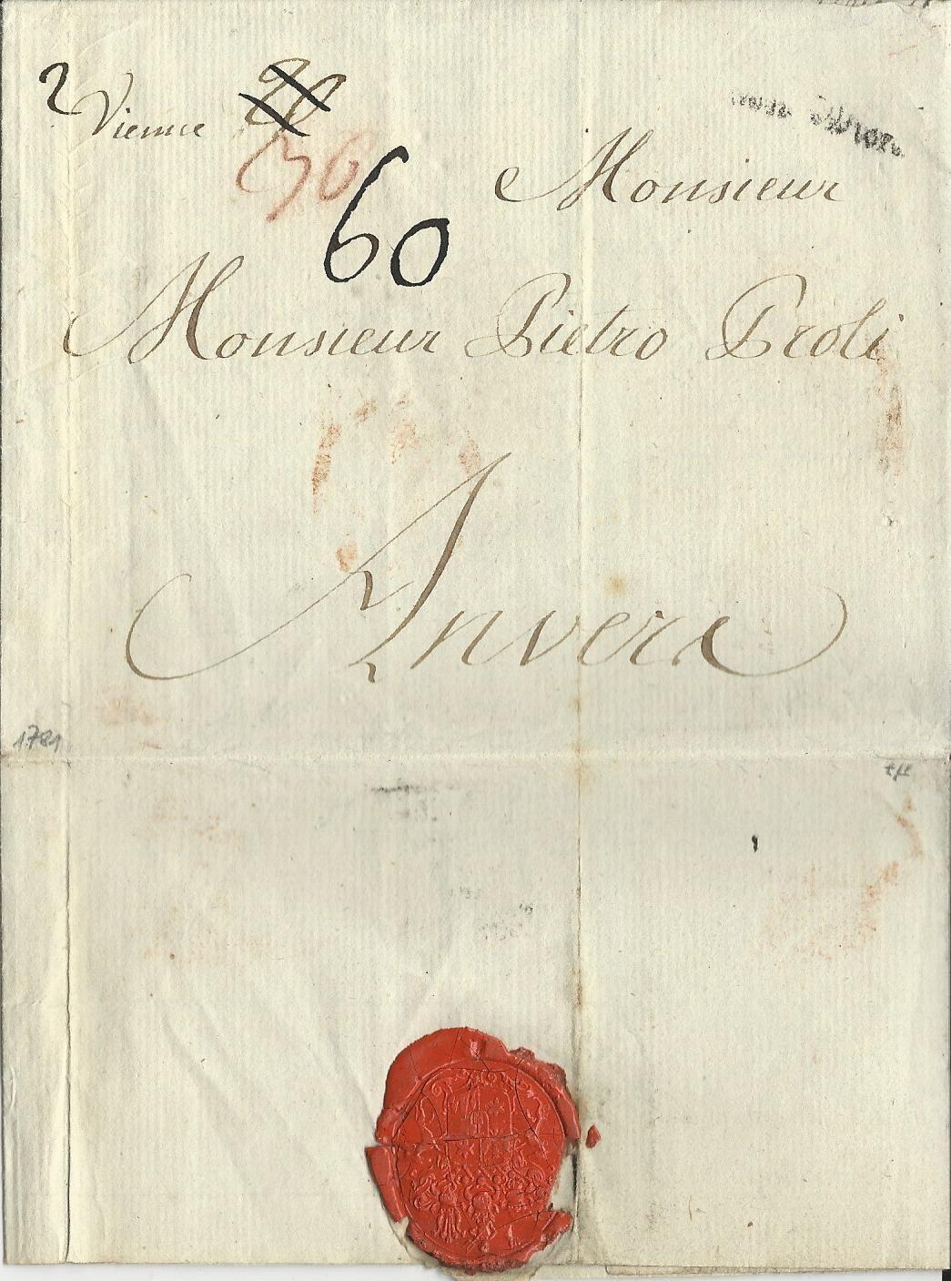 österreich 1784 L1 Von Wien Auf Porto Brief N Anvers Belgien