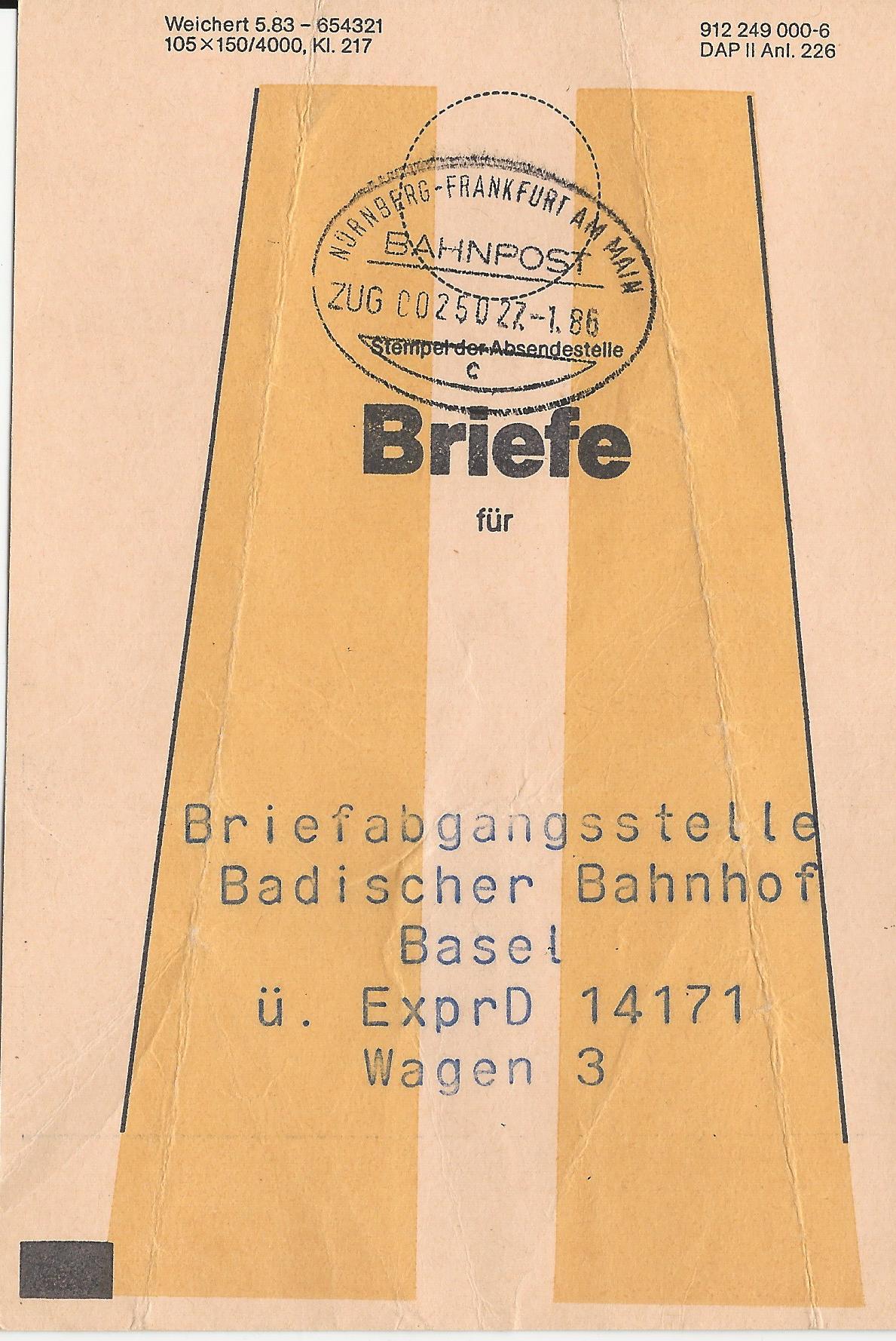 Nürnberg Bahnpost Frankfurt // Bahnpost 1985 Briefmarken