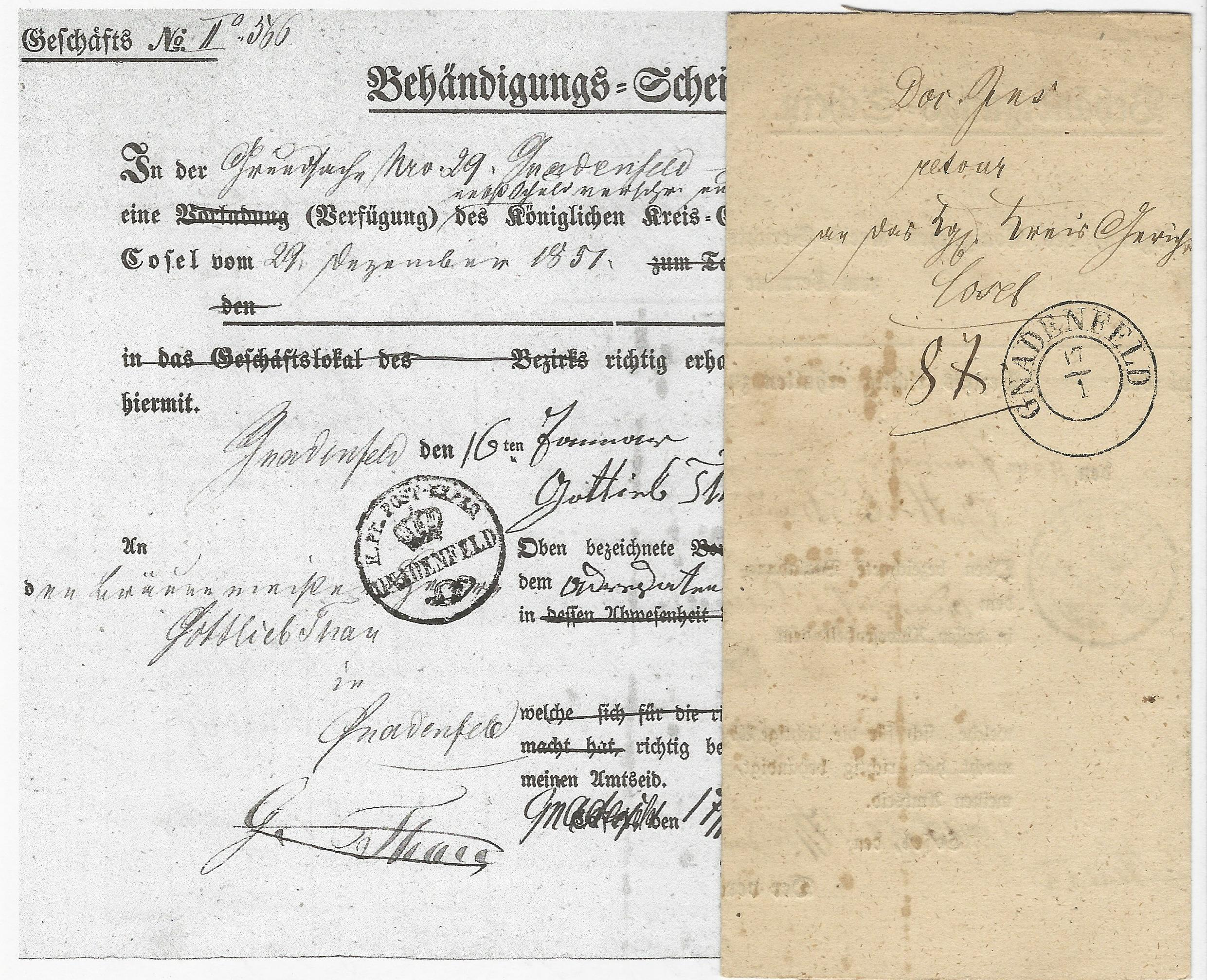 Preussen 1852 K2 Gnadenfeld Auf Formular Post Behändigungs Schein