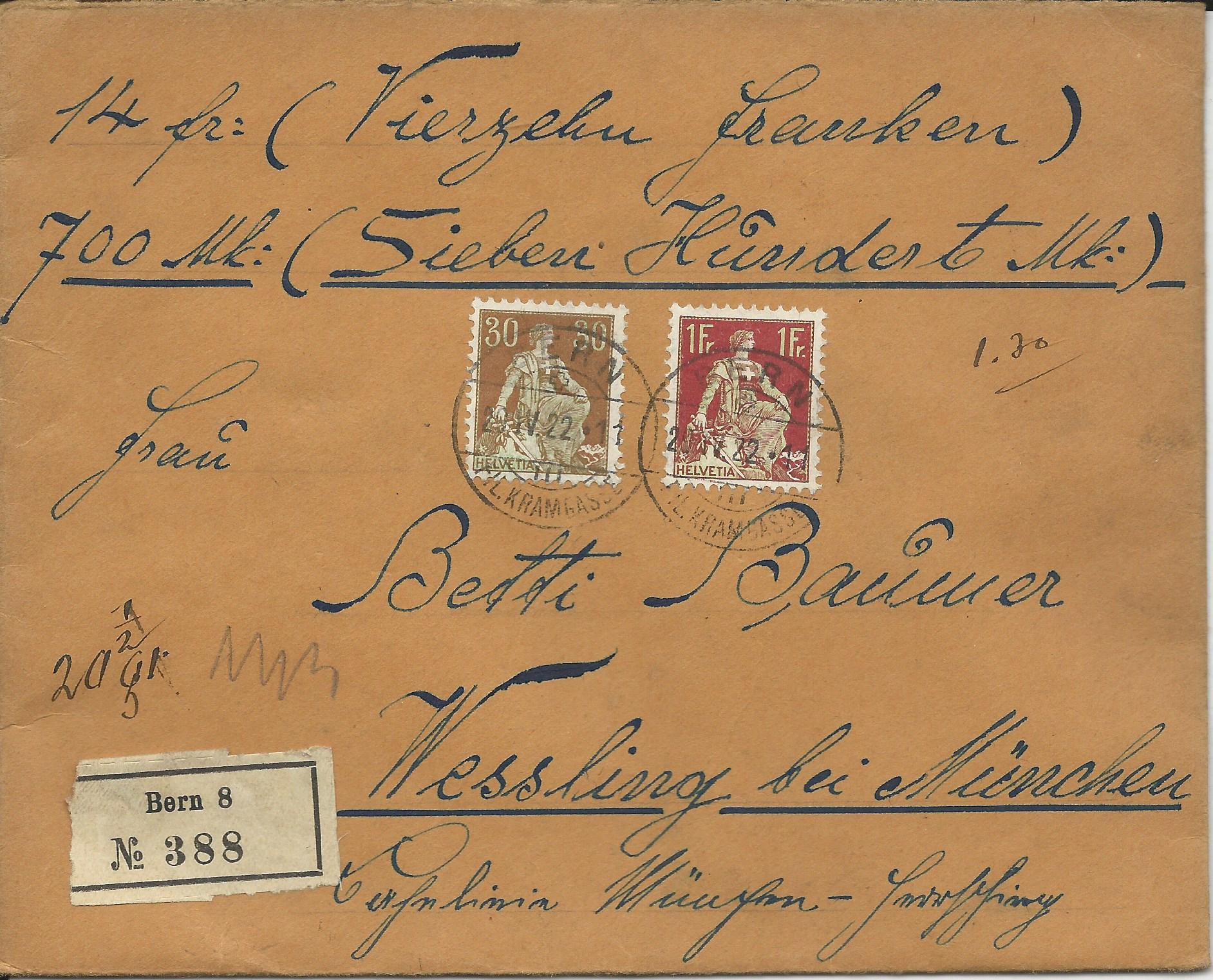 Schweiz 1922 1 Fr30 C Auf Gesiegeltem Wert Brief V Bern N