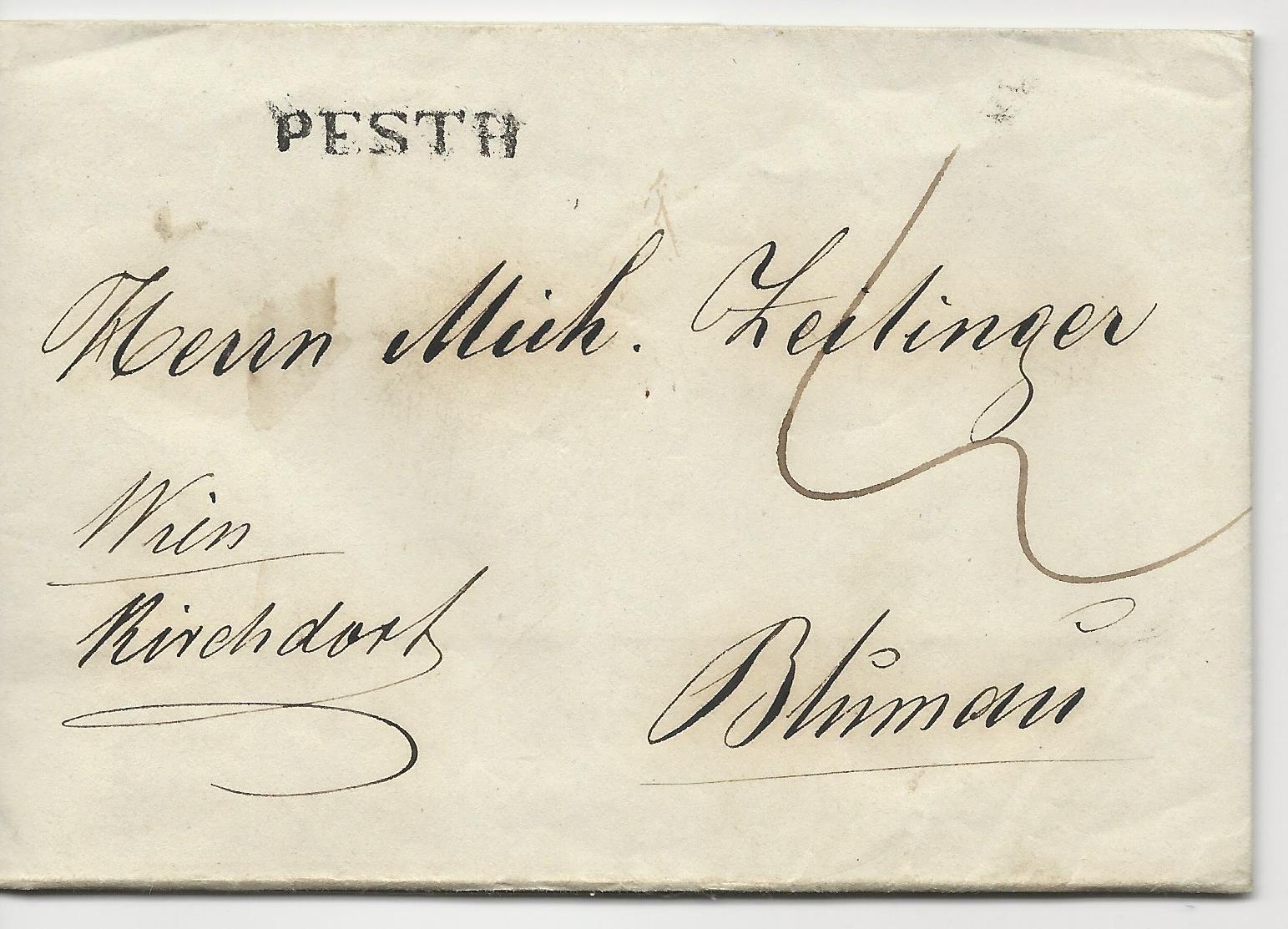 österreich Ungarn 1843 L1 Pesth Auf Porto Brief N Blumau Via