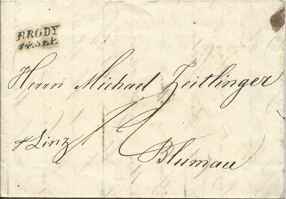 österreich 1843 L2 Brody Galizien Auf Porto Brief N Blumau