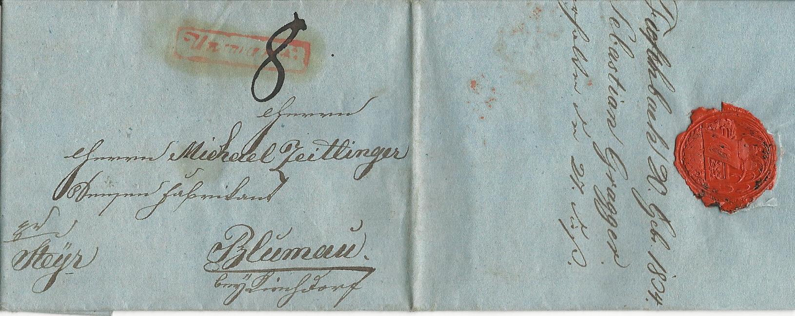 österreich 1834 Roter R1 Unzmarkt Auf Porto Brief V Tiefenbach N