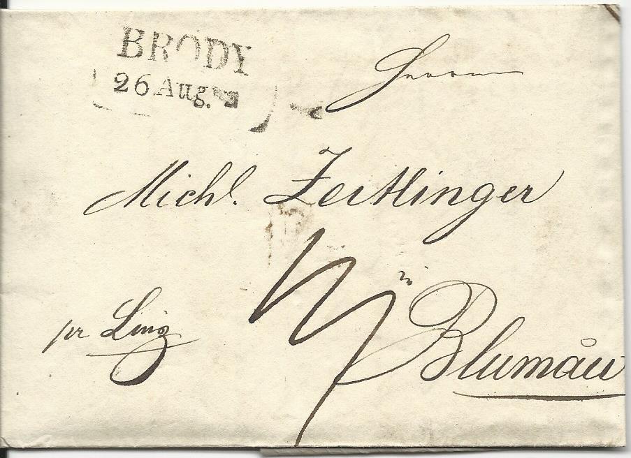 österreich 1836 L2 Brody Auf Porto Brief Prlinz N Blumau
