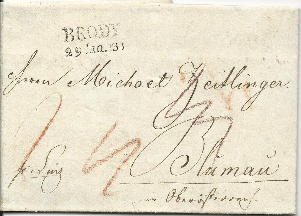 österreich 1836 L2 Brody Klar Auf Porto Brief Pr Linz N Blumau