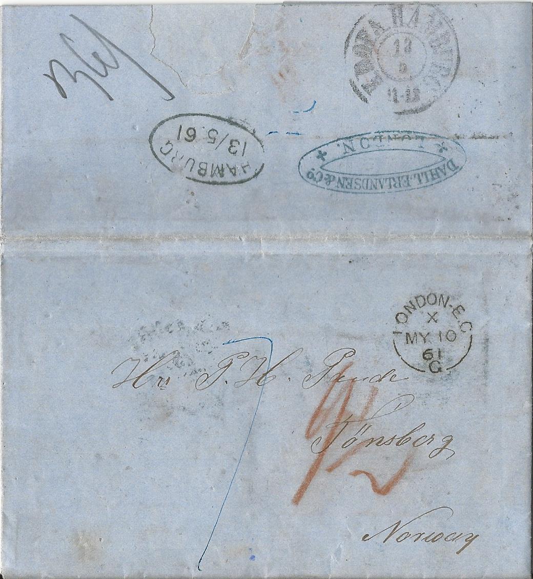 Brief Nach Irland Porto : Gb porto brief v london via kdopa hamburg nach