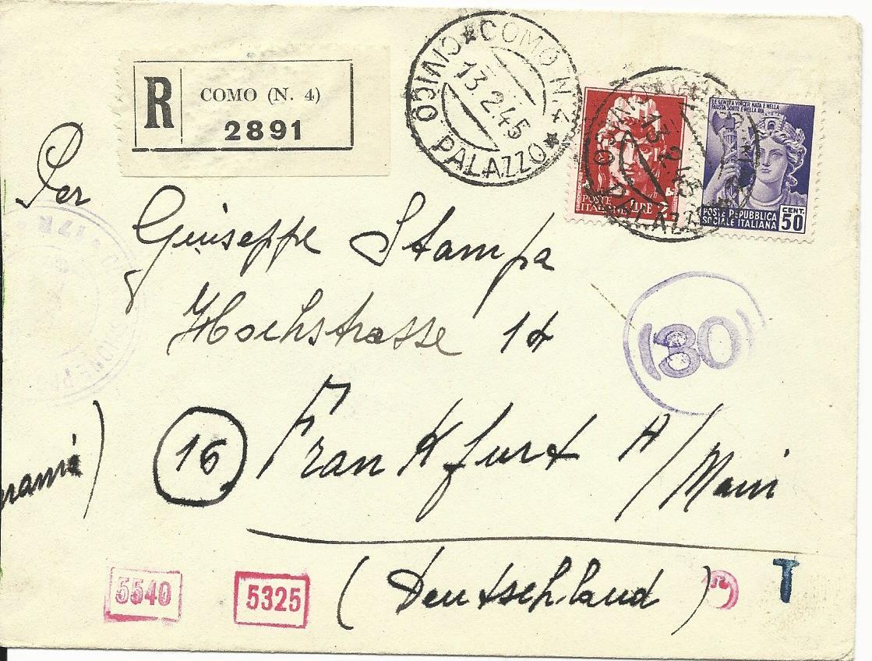 Italien 1945 50 C2 L Auf Einschreiben Zensur Brief V Como N