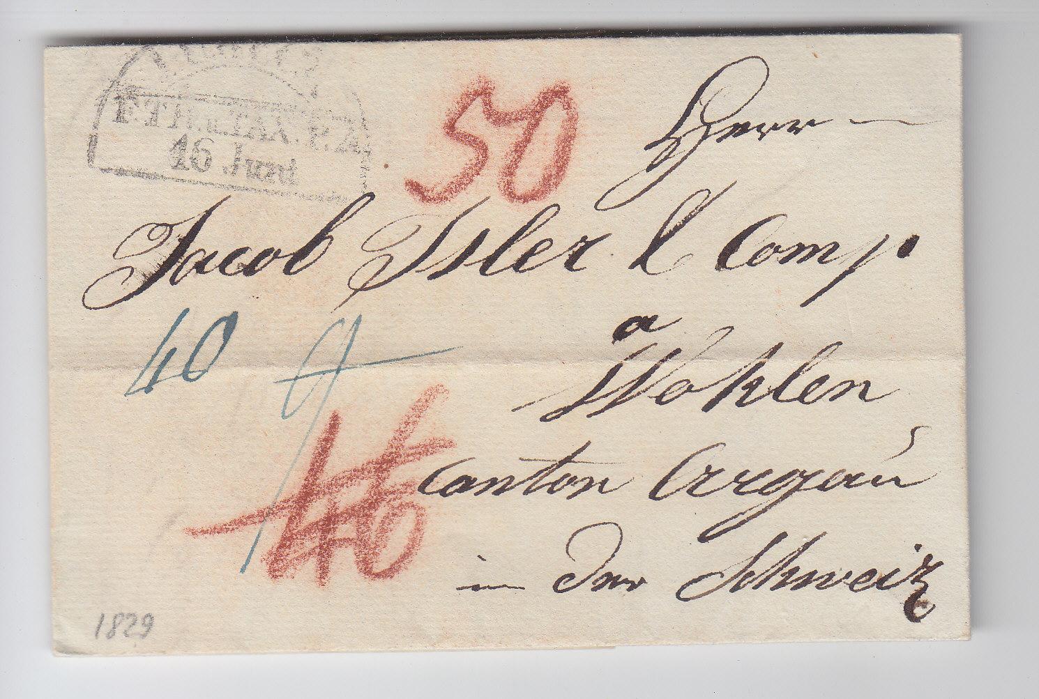 Lübeck Taxis Pa 1829 Porto Brief Id Schweiz Heiner Zinoni