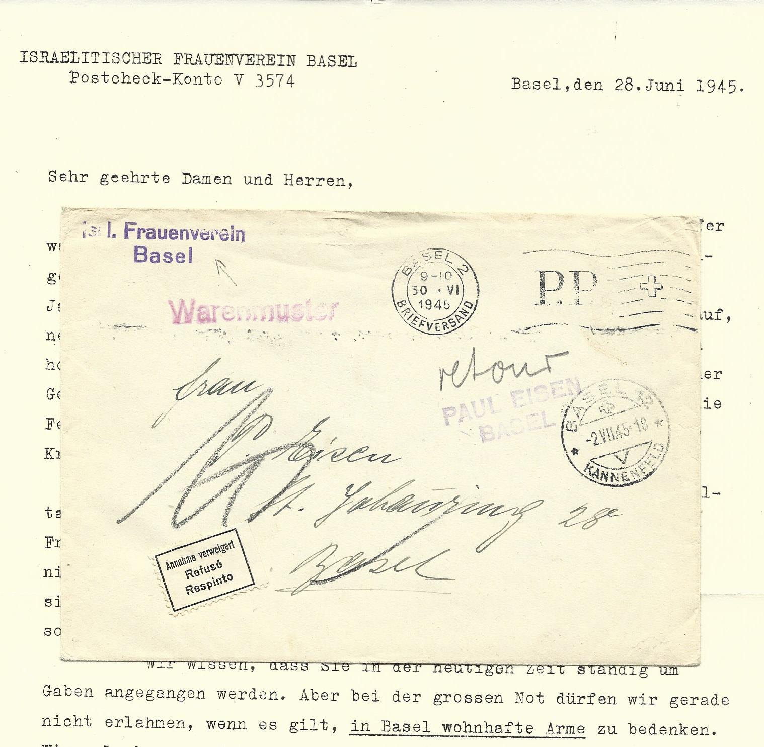 Schweiz Juni 1945, Retour Brief d. Israel Frauenvereins Basel ...