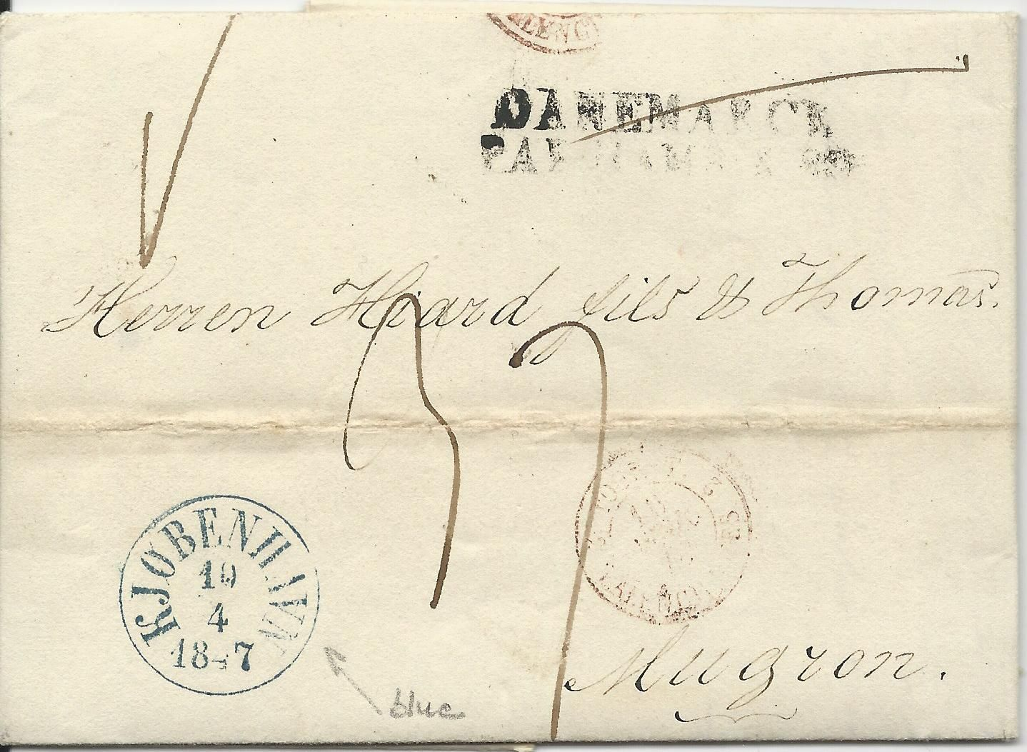 Dänemark 1847 Blau K1 Kjobenhavn Auf Porto Brief N Frankreich