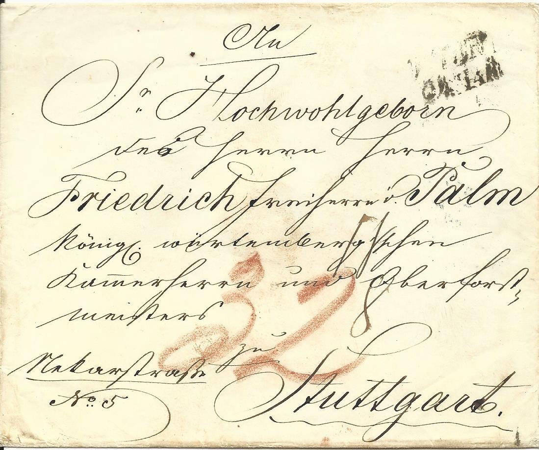 österreich Ca 1840 L2 Wien Auf Porto Brief N Württemberg Heiner