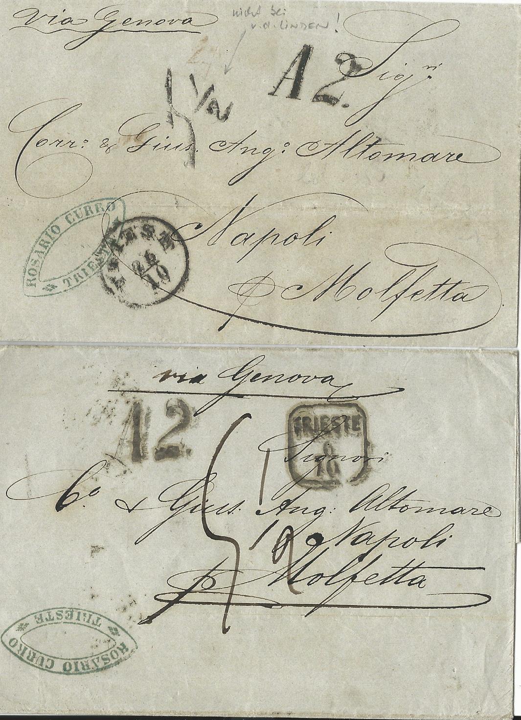 österreich 186263 2 Porto Brief M Divstempeln V Triest N